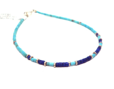 Kila Design, Armbånd med turkis, lapis lazuli og sterlingsølv beads (925)