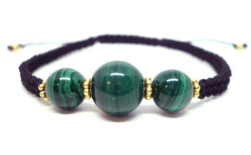 Kila Design, Armbånd, Luksus Kubera, med malakit og forgyldt sølv beads (925)