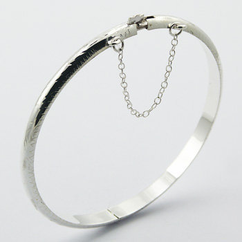 Armbånd i sterlingsølv, mønstret bangle 5mm (925)