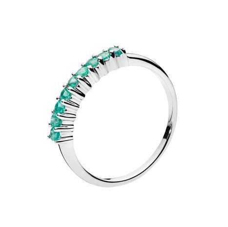 Lund Cph, Alliance ring i 8 kt. hvidguld med smaragd (333)