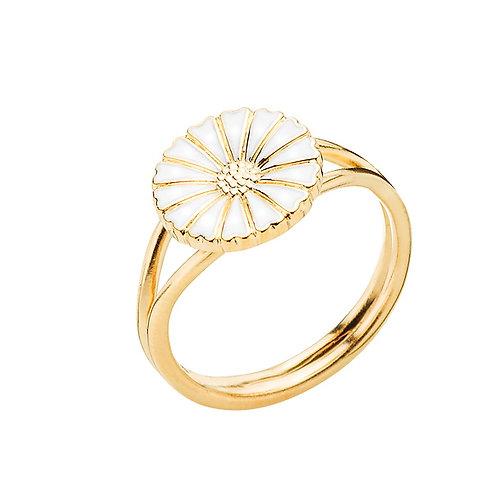 Lund Cph, Marguerit ring i forgyldt sølv, 11mm blomst (925)