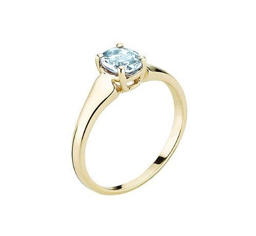 Lund Cph, Ring i 8 kt. guld med blå topas (333)