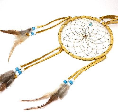 Drømmefanger hjorteskind med blå/hvid glasperler