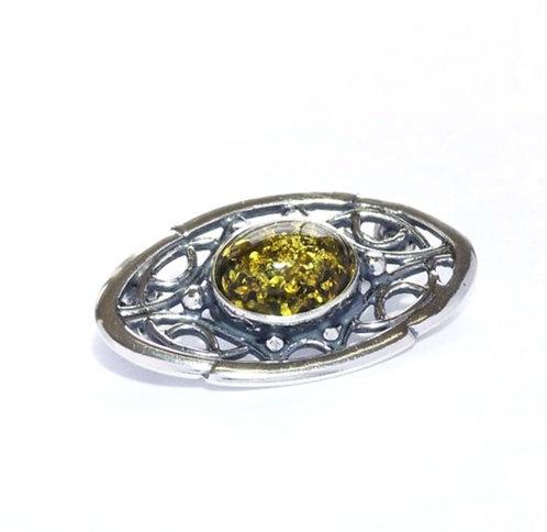 Broche i sterlingsølv med grøn rav og antik mønster (925)