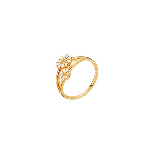 Lund Cph, Marguerit ring i 24 kt. forgyldt sølv, 5/7,5mm blomster (925)