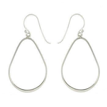 Pære formet åben sølv ørering