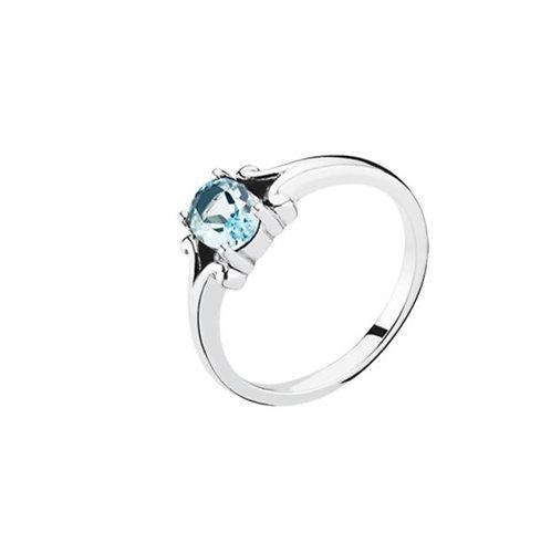 Lund Cph, Ring i sterlingsølv med blå topas (925)