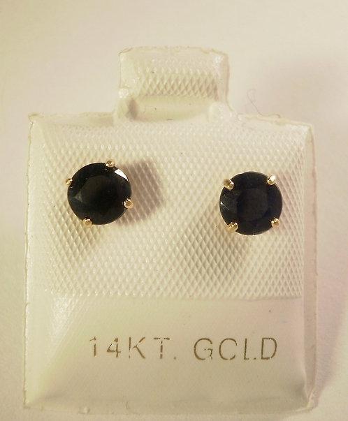 Ørestikker i 14 kt. guld med safir, 5mm (585)