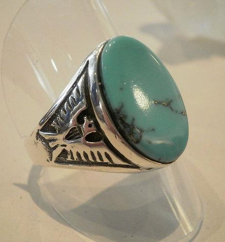 Navajo, Ring i sterlingsølv med turkis, Thunderbird (925)