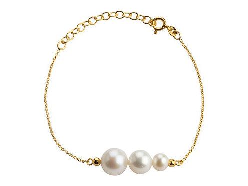 Lieblings, Pearls, Armbånd i forgyldt sølv med ferskvandsperler (925)