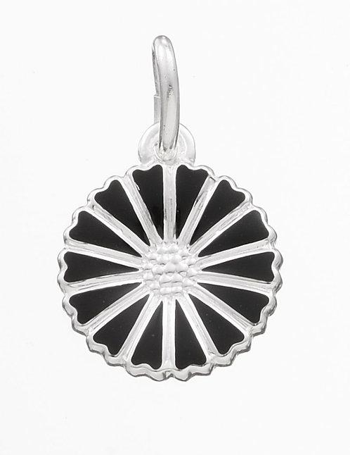 Lund Cph, Marguerit vedhæng i sterlingsølv med sort emalje blomst, 11mm (925)
