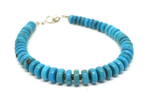 Kila Design, Armbånd med turkis, heishe perler og sølvlås (925)