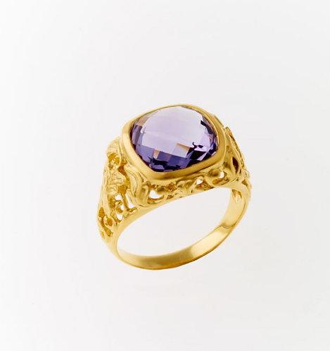 Lund Cph, Rustik ring i forgyldt sølv med lilla ametyst (925)