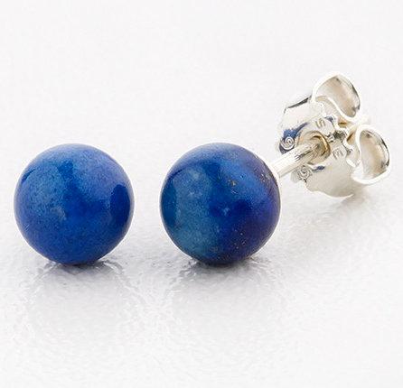 Ørestikker i sterlingsølv med 6 mm lapis lazuli (925)