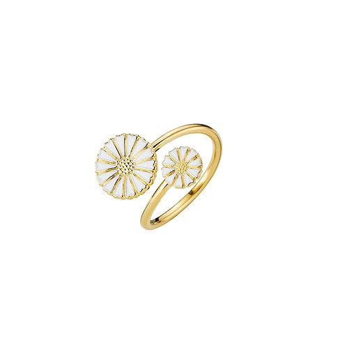 Lund Cph, Marguerit ring 24 kt. forgyldt sølv, 7,5/11mm blomst (925)