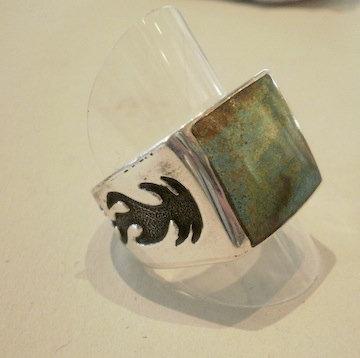 Chimney Butte, Ring i sterlingsølv med flammemønster og turkis (925)