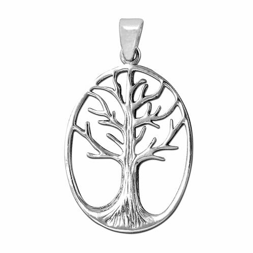 Vedhæng i sterlingsølv, ovalt Yggdrasil, Livets træ (925)