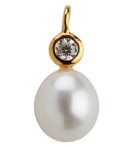 Lieblings, Mira, Vedhæng i forgyldt sølv med hvid perle og zirkonia (925)