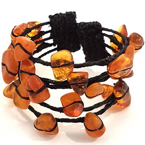 Armbånd med rav og sort snor wire