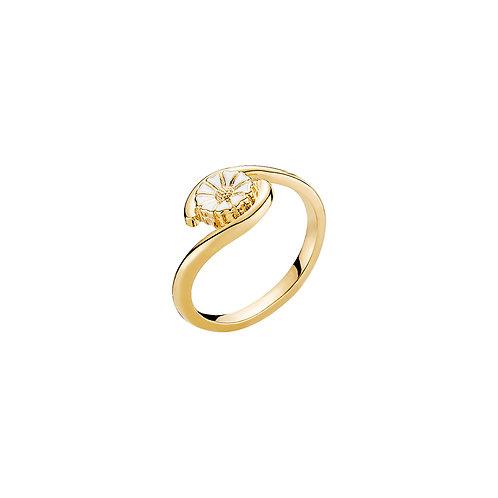 Lund Cph, Marguerit ring i 24 kt. forgyldt sølv, 7,5mm blomst (925)