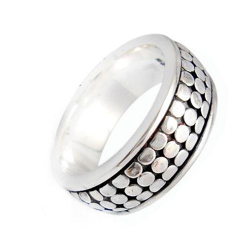 Ring, spinning, i sterlingsølv med armadillo mønster (925)