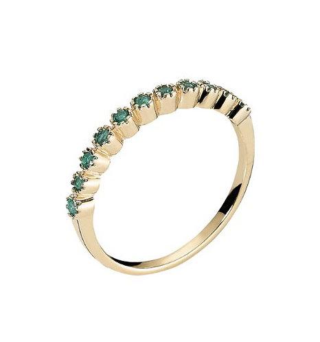 Lund Cph, Alliance ring i 8 kt. guld med smaragd (333)