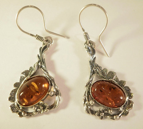 Rav øreringe i sterling sølv antik
