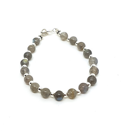 Kila Design, Armbånd med labradorit og sterlingsølv beads (925)