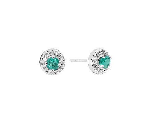 Lund Cph, Ørestikker i 8 kt. hvidguld med smaragd og diamanter, 5mm (333)