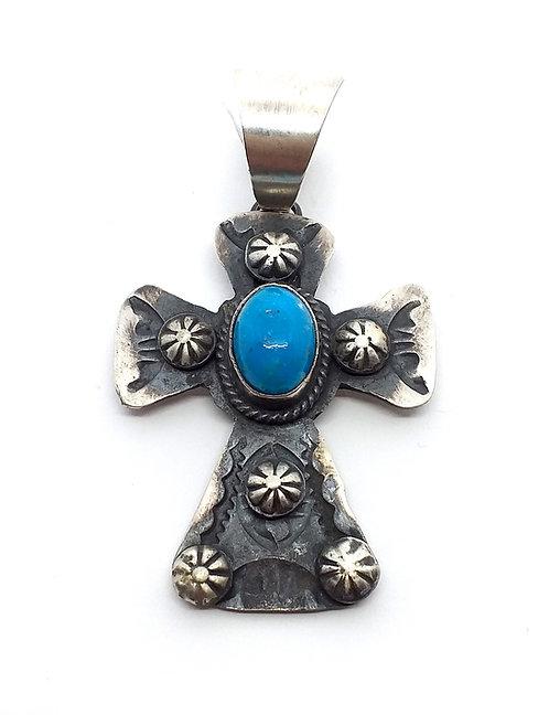 Chimney Butte, Vedhæng, kors, i sterlingsølv med turkis (925)