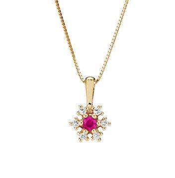 Lund Cph, Halskæde, Collier, i 14 kt. guld med rubin og diamant (585)