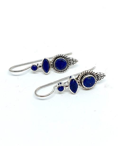 Ørehænger i sterlingsølv med lapis lazuli (925)