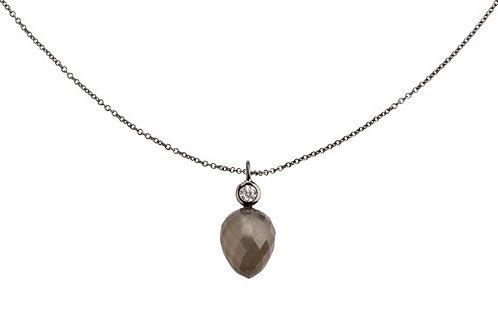 Lieblings, Mira, Halskæde i rhodineret sølv med månesten og zirkonia (925)