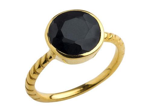 Lieblings, Aia, Ring i forgyldt sterlingsølv med onyx (925)