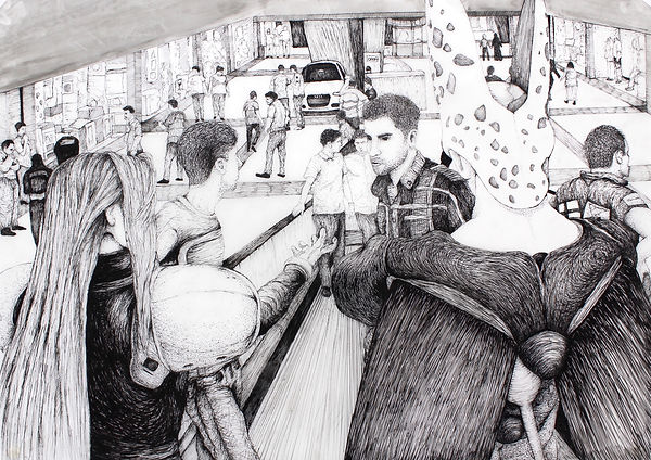 Don_t forget we have to stop by Carrefour, 2014, Ink Pen on Mylar, 25.5in x 35in (64.77cm
