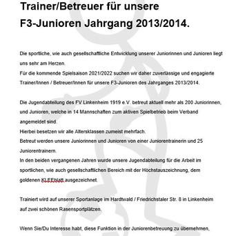 Gesucht: Trainer/Betreuer für unsere F3-Junioren Jahrgang 13/14