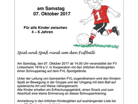 Kindergarten-Schnuppertag beim FV Linkenheim