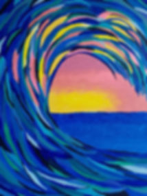Abstract ocean sunset painting