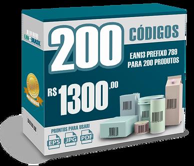 EAN-13 Pacote com 200 unidades para 200 Produtos