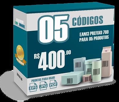 EAN-13 Pacote com 05 unidades para 05 Produtos