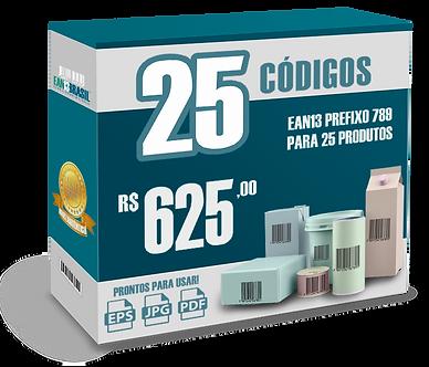 EAN-13 Pacote com 25 unidades para 25 Produtos