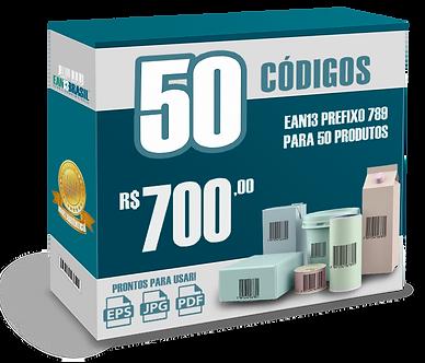 EAN-13 Pacote com 50 unidades para 50 Produtos