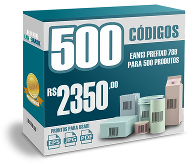 EAN-13 Pacote com 500 unidades para 500 Produtos