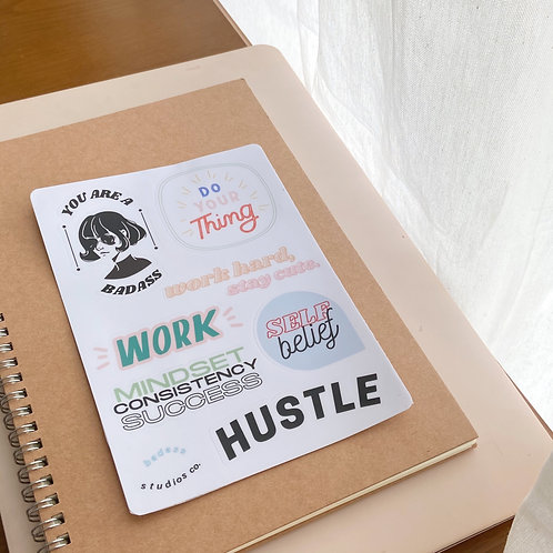Hustle sticker sheet