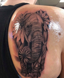 Elephant tattoo done by Jesse