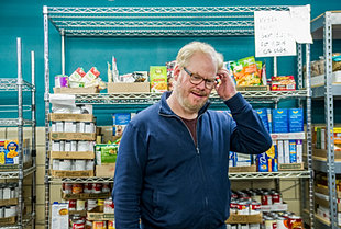 Jim Gaffigan Makes His Yearly Visit At The Riverwest Food Pantry In  Milwaukee, WI For His 10th Anniversary Of NYE Shows In Milwaukee.