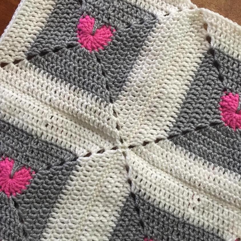 Crochet Ripple and Love Heart Blankets