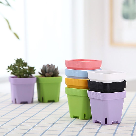 Colored square nursery pots, set of 10