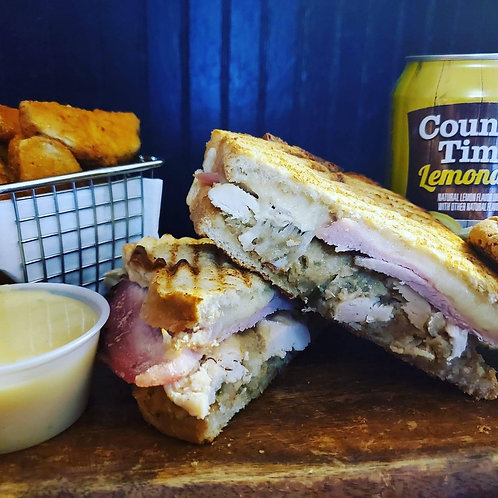 SPECIAL OF THE WEEK - COUNTRY HAM, RST. CHICKEN & CORNBREAD STUFFING PANINI