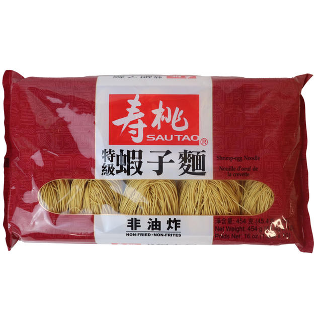 Sautao Shrimp-Egg Noodle (16oz) 寿桃特级虾子面